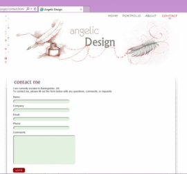 Web Design - Angelic Design Portfolio Site Contact Us Page