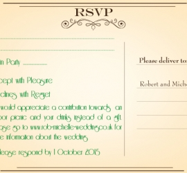 Graphic Design for Wedding in Europe - Back of RSVP Card
