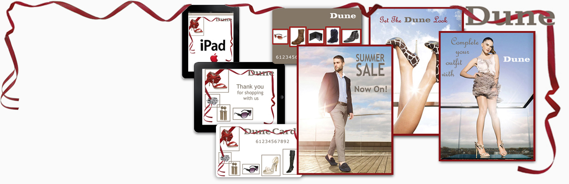 Graphic Design project displaying online ads, loyalty cards and iPad skin