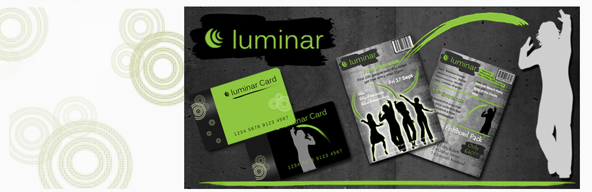 Graphic Design project displaying flyers, loyalty cards, entrance tickets and vouchers
